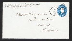 US SCOTT #U330 COVER 5C BLUE GRANT NYC TO ANTWERP BELGIUM 1891 (COLE EL-126)