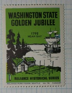 Washington State Golden Jubilee Neah Bay Ship Company Brand Ad Poster Stamp