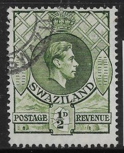 SWAZILAND SG28b 1950 d BRONZE-GREEN p13x14 USED