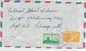 Panama 1963 to Chicago USA Correos AlmiranteCancel Airmail Stamps Cover Ref25315