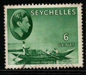 SEYCHELLES SG137a 1941 6c GREYISH-GREEN USED
