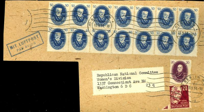 Germ Dem rep #65 67 Block of 14 on Piece Used F-VF Cat $237+