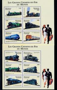 [61502] Gabon 2000  Railway Train Eisenbahn Chermin De Fer 2 Sheets MNH