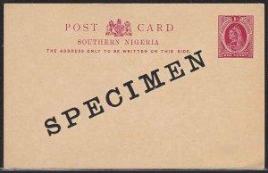 SOUTHERN NIGERIA QV 1d postcard optd SPECIMEN...............................1475