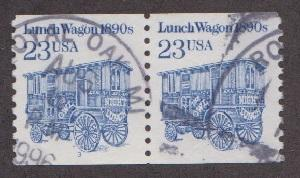 US #2464a Lunch Wagon Used PNC pair plate #3 (mottled tag)