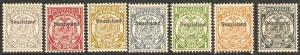 1889 Swaziland Scott 1-7 overprint on Transvaal Stamps MNH