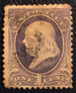 #145 1c Franklin, un-w/m, 1870, used