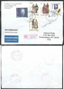 2001 Lithuania registered cover Vilnius to W VA USA (Olympic stamp)