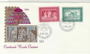 Vatican 1964 Celebrating Cardinal Nicola Cusano 500 Yrs Stamps FDC Cover Rf29516