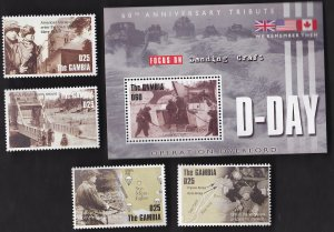 D- Day, Operation Overlord SS, British & American Troops, Gambia 2852a-d  MNH