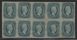 $CSA Sc#11 M/VF block of 10, no gum, Cv. $210