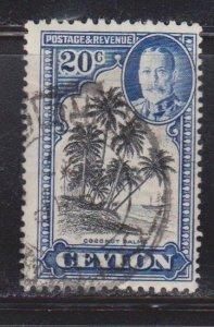 CEYLON Scott # 270 Used - KGV & Coconut Palms