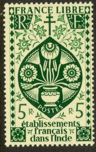 FRENCH INDIA 1942 5R LOTUS FLOWER Issue Scott No. 156 MH