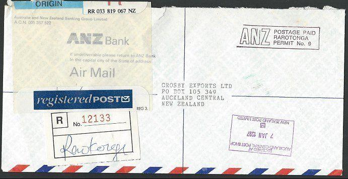 COOK IS 1997 Registered airmail cover to NZ, ANZ Bank Permit mail..........13257