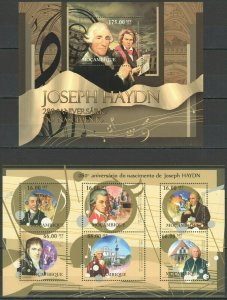 BC985 2012 MOZAMBIQUE ART MUSIC GREAT COMPOSER JOSEPH HAYDN BL+KB MNH