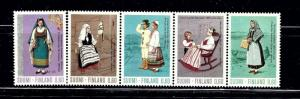 Finland 533-37 MNH 1973 Strip of 5 been folded