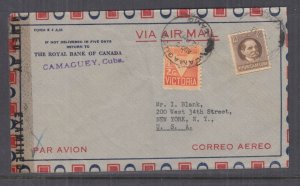 HAVANA,1941 Airmail Censored cover to Camaguey USA, 1/2c., 10c.