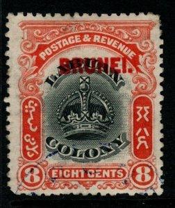 BRUNEI SG17 1906 8c BLACK & VERMILION FINE USED
