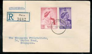 Malaya Kedah #55 - #56 Very Fine Used On Registered First Day Cover