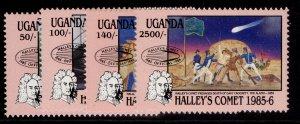 UGANDA QEII SG515-518, 1986 hailey comet set, NH MINT.