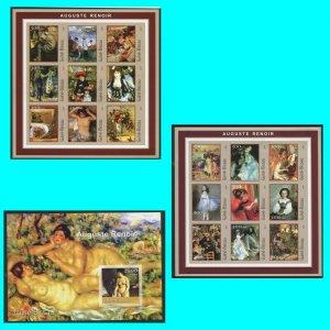 Art Renoir Guinea Bissau 2001 2 Minisheets + Block Michel 1600- Imperforate