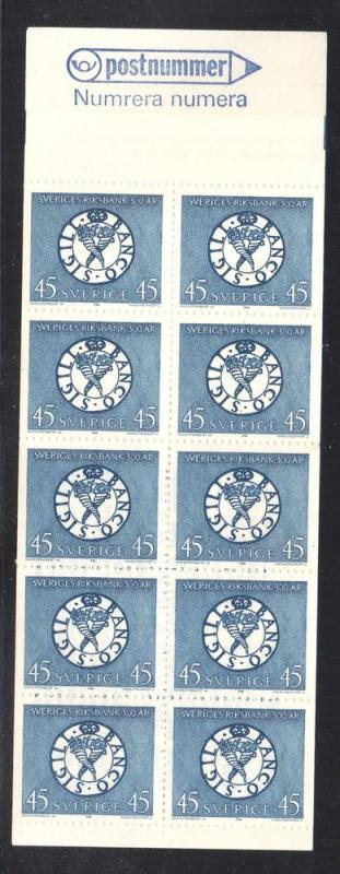 Sweden Sc 778a 1968 45 o Nat Bank stamp bklt of 10  mint NH