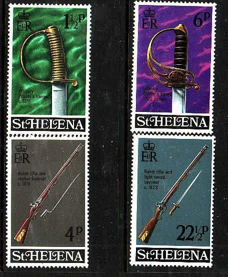 St Helena-Sc#263-6 id5-unusedNH set-Military-Weapons-1971-