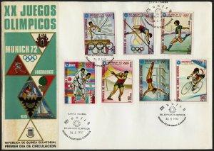 C09 Equatorial Guinea Oversized FDC 1972 Summer Olympics Munich Set of 7
