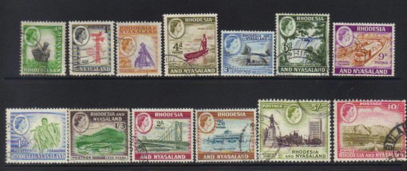 RHODESIA & NYASALAND 1959-1963 DEFINS 13 USED VALUES CAT £37+
