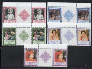 Bermuda Sc 499-03 1986 60th Birthday QE II stamp set gutter pair mint NH