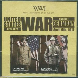 CANOUAN 2014  100th ANNIVERS OF WORLD WAR I US DECLARES WAR  S/S MINT NH