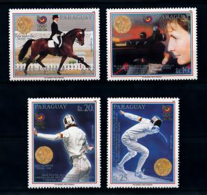 [92270] Paraguay 1989 Olympic Games Seoul Fencing Shooting Equestrian  MNH