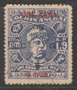 Inde / Travancore-Cochin  1949  Scott No. 14  (O)