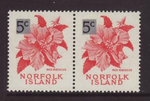 1966 Norfolk Is 5c on 8d Pair U/M