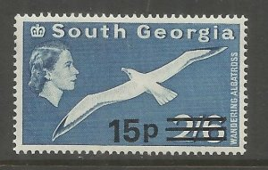 SOUTH GEORGIA 28 MNH, WANDERING ALBATROSS, SURCHARGED