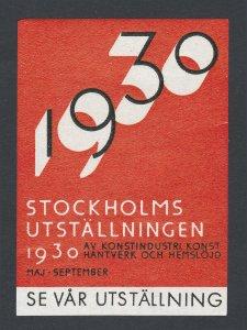 REKLAMEMARKE SWEDEN STOCKHOLMSUTSTÄLLNINGEN POSTER STAMP 1930