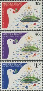 Norfolk Island 1986 SG393-395 Christmas stylized dove set MNH