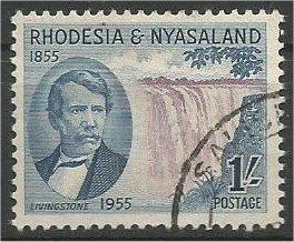 RHODESIA AND NYASALAND, 1955, used 1sh, Victoria Falls Scott 157