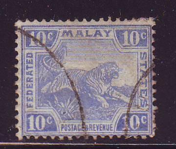 Malaya Sc 47 1919 10c tiger stamp used