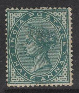 INDIA SG84 1883 ½a DEEP BLUE-GREEN MTD MINT TONE SPOT