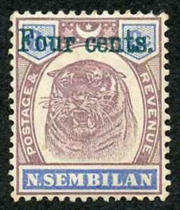 Negri Sembilan SG19 Four Cents (deep green) on 8c M/Mint (hinge remainders)