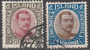 Iceland #125-6  F-VF Used CV $16.00