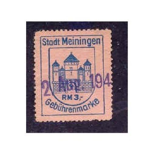 Germany - Meiningen 3 RM Municipal Revenue Stamp