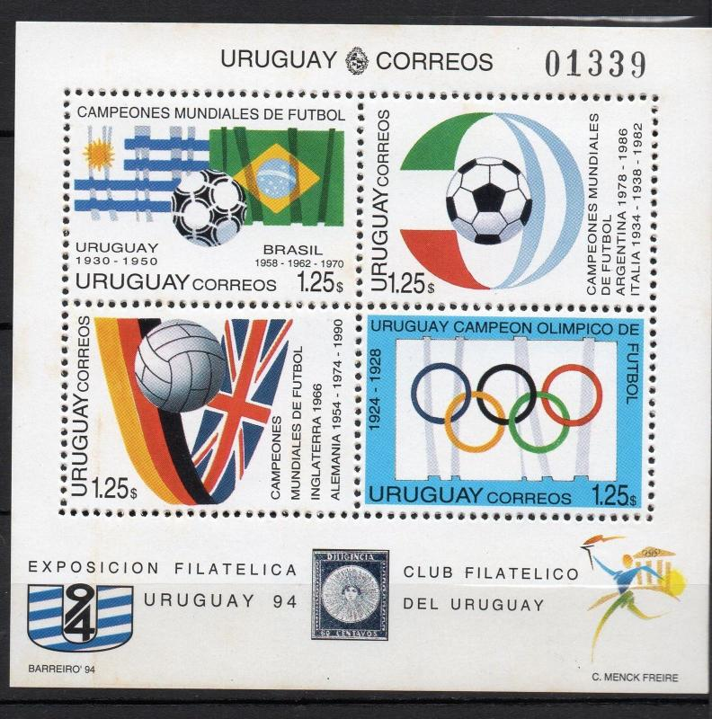 1994 World cup Soccer in USA Flags emblems URUGUAY Sc#1527 MNH STAMP S/S cv$10