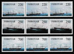 Faroe Is. Old Cargo Liners 3v strips of 3 stamps SG#78-80 SC#90-92