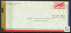 US JUNEAU, AK 3/24/1943 CENSORED AIR MAIL COVER TO ROCHESTER, NY AS SHOWN