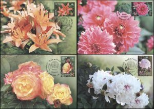 Belarus. 2014. Flowers (Mint) Set of 4 Maxi Cards