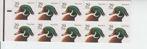1991 USA Wood Duck Booklet pane of 10 (Scott 2284a) MNH