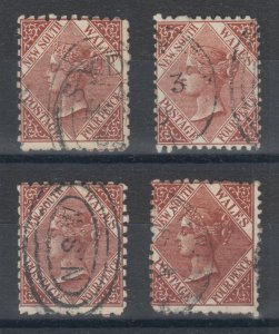New South Wales SG 229, 229b, 230,230c used. 1884-85 4p definitives, 4 different
