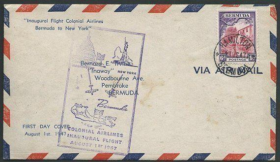 BERMUDA 1947 first flight cover to New York....................38948